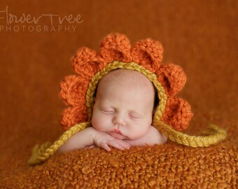 Newborn Flower Bonnet, Flower Bonnet Hat, Newborn Photo Prop,  Newborn Bonnet, Crochet Infant Hat, Newborn Girl Hat, Orange Flower Hat