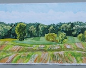 Field, Corner of Waterworks and Parker Rds., original landscape watercolor, greens, blues, golds, sky, trees, field