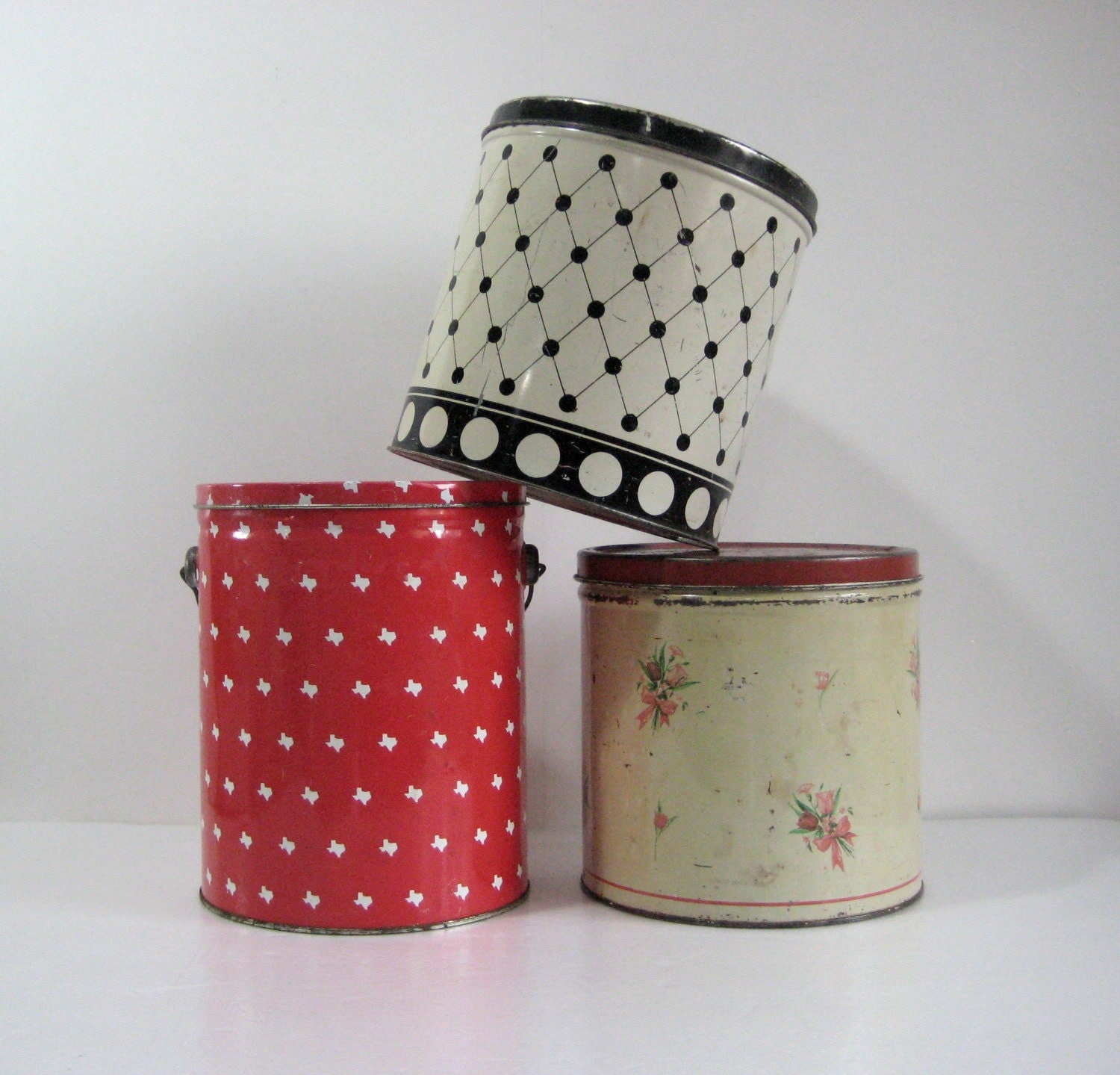 vintage tin canisters decorative metal cans with lids by