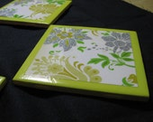 Set of 4 Ceramic Tile Coasters - Yellow, Green, Silver Flowers