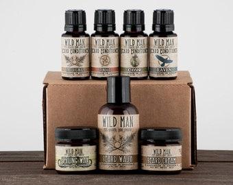 Mens Grooming Kit - BIG Wild Man Beard Gift Set - The Complete Beard Care Sampler