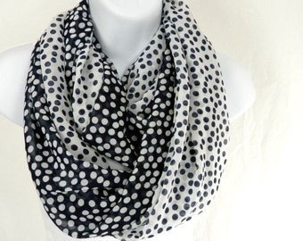 Seeing Double Infinity Scarf Navy Blue and White Polka Dots Reverse Color Loop Scarf Handmade by Thimbledoodle