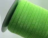 "Frosted Glitter Elastic Neon Green 3/8"" Glitter elastic No flake stretch Glitter elastic trim baby headband elastic 3, 5 or 10 yards"