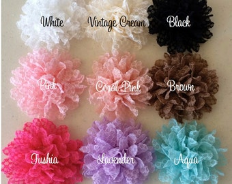 """Lace Fabric Flowers  3.5"""" - YOU PICK COLORS - (6 count) Wholesale flowers supplies Headband Flowers soft lace large flowers hair flowers"""