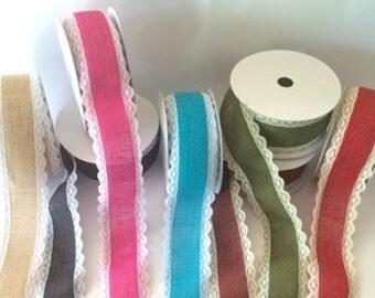 """2.5""""  burlap lace edge ribbon trim Natural or Colored burlap with lace   - YOU CHOOSE COLOR - 2 1/2""""  wide trim vintage burlap ribbon"""
