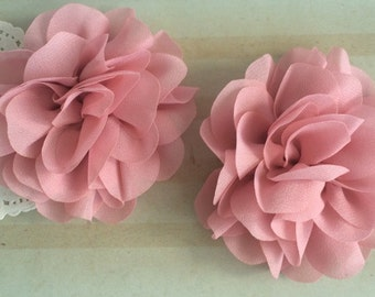"Dusty Rose Pink Mauve Soft Petal Rose Flowers Flowers (2 pieces) 3"" Chiffon flower Wholesale Flowers Headband Flowers Fabric Flower Sara"