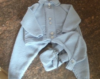 Pure Merino Quality Hand Knit Vintage Style Baby Boys Pram Set consisting of  Jacket / Sweater, Leggings Helmet and Mittens 8 - 12 months