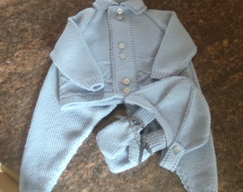Pure Merino Quality Hand Knit Vintage Style Baby Boys Pram Set = Jacket / Sweater, Leggings Helmet and Mittens 4 - 10 months