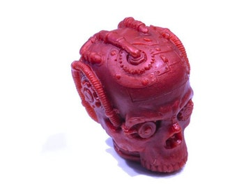 Steampunk Skull Soap in Red