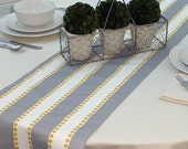 Choose your Table Runner, Stripes Grey Yellow Table Runners for Wedding Decor, Birthday Parties, Party Decor, Holidays