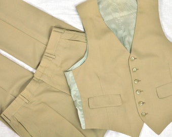 3 Three Piece Suit 40R Tan Wool Blend Vintage 1980's Mens Grooms Wedding Business Suit Vest