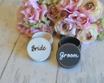 Customized Ring Boxes-(Set of Two-Bride/Groom) - With Burlap Pillows. Your choice of Colors. Ships Quickly.
