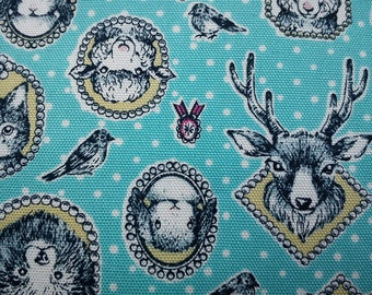 Animal's portrait, aqua, fat quarter, pure cotton fabric