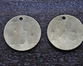 Vintage Brass Large Number Brass Tags - Set of 2