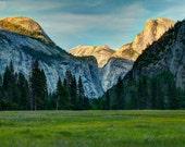 Last Light in Yosemite Valley, Landscape Photograph, Yosemite National Park, Half Dome, Meadow, Green, Spring, Summer, Mountain, Zen, Nature