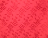 RED Floral   Vintage Japanese  WATER RESIST silk fabric  woven floral pattern   14 x 72 inches