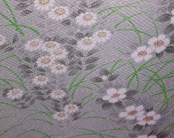 FLORAL CHAIN  Vintage Japanese Chirimen Crepe silk  Light Green  White 14 x 58 inches