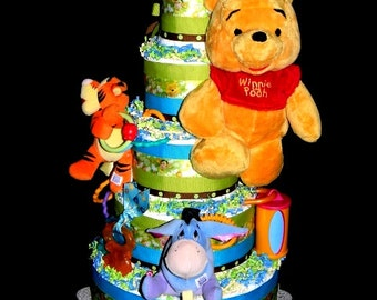 Colorful Winnie The Pooh Diaper Cake - 5 Tiers! Has Many Toys For Baby! 100 Diapers!