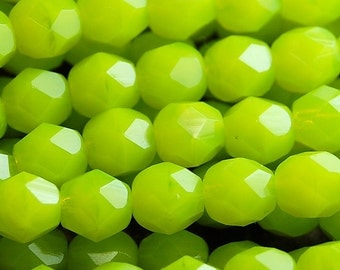 Chartreuse Firepolish Czech Glass Faceted Bead 6mm Round - 25 Pc