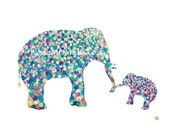 Elephant  daddy  and baby boy -elephant nursery art, elephant print, elephant watercolor, father's day gift
