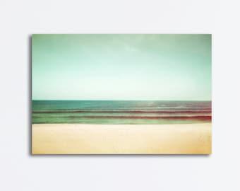 "Beach Canvas Photography - seascape canvas wrap mint green turquoise beige landscape ocean sea wall art teal peach photograph, ""Tranquility"""