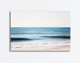 "Ocean Canvas - sea gallery wrap light blue white seascape wave photography large beige seashore wall decor, 30x40 ""Once by the Atlantic"""