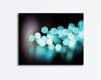 "Bokeh Canvas Wrap - aqua blue black teal sparkle wall art large lights wrapped canvas sparkly picture circles photo print, ""Illuminate"""
