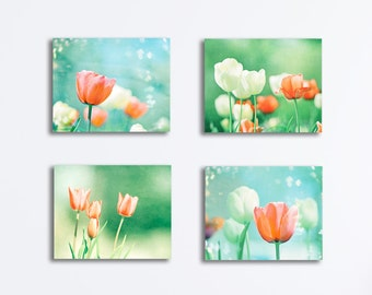 Floral Nursery Canvas Set, flower tulips aqua blue mint orange coral turquoise mint photography peach four 4 gallery wraps baby girls room