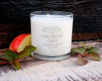 Organic Candle OAK BARREL CIDER Coconut Wax Massage Candles Essential Oils 10 oz