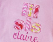 Instant Download . Little Sister with Optional Running Stitch Applique Embroidery Design - 2 Sizes