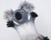 the koala hand puppet, wet felted. MADE TO ORDER