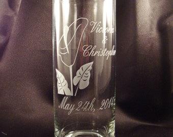 Custom Wedding Unity Candle Vase - Calla Lily Wedding Unity Candle Vase with Floating Candle - Wedding Unity Ceremony - Personalized Unity