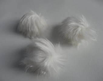 Faux Fur Poms-VANILLA-  Set of 3