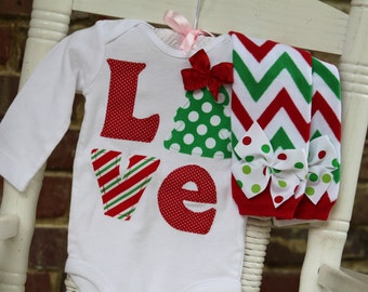 Baby Girl Christmas Outfit -- *Christmas Love* bodysuit and leg warmers - red and green chevron and polka dots