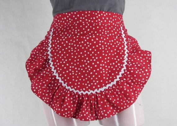 Polka Dot Apron Red White Cotton Rickrack Ruffle