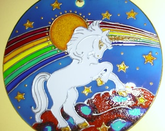 Rainbow Unicorn, Stained Glass, Handpainted, Window Ornament