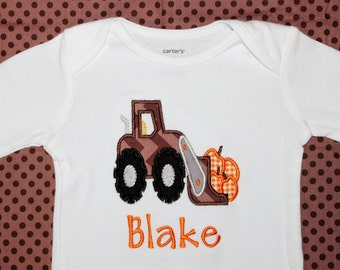 Boys Personalized Applique Fall Pumpkin Tractor Long/Short Sleeve onesie or tshirt