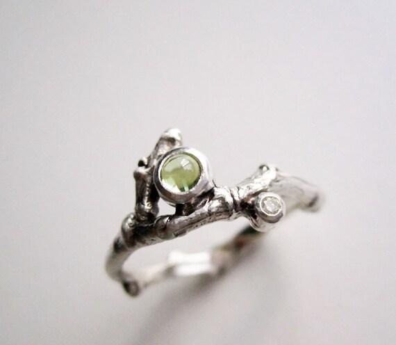 Peridot & Diamond Silver Twig Ring