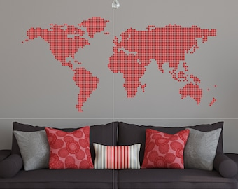 World Map Wall Decal With Countries Borders