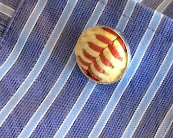 Played game ball MLB baseball New York Mets accessory sports fanatic hand crafted cuff links