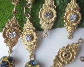 Vintage Floral Swarovski Crystal Connector Finding