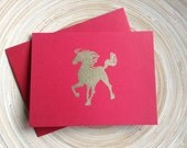 Clearance SALE Chinese Year of the Horse Card Red Gold 2014  (1) silhouette