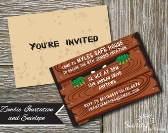 "Zombie party, Zombie Apocolypse, Undead party editable printable 4x6"" (instant download) invitations and printable envelope"