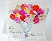 Handmade 3D Personalised New Baby Girl Card - Baby Balloons Card, New Baby Girl, New Baby Congratulations, New Baby, A Brand New Baby (BHBG1