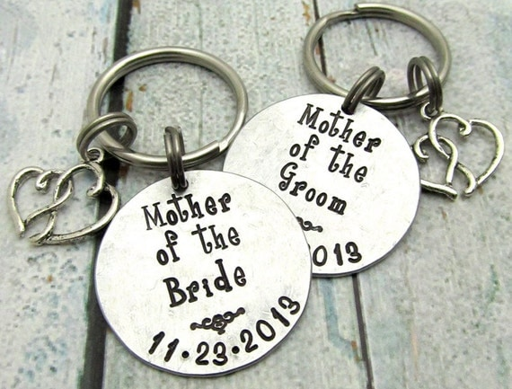 Mother of the Bride Gift and Mother of the Groom Gift - Hand Stamped Keychain - Personalized Wedding Party Gift for Parents