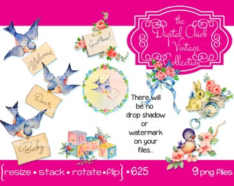 Digital clipart, instant download, baby clip art, vintage baby images, blocks, rattle, bluebirds flowers blue pink, printable png files 625