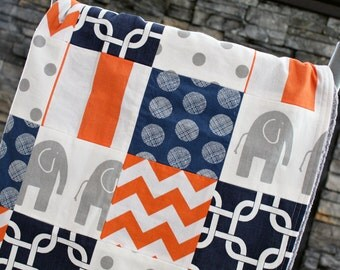 Baby Blanket, Modern Baby Quilt - Navy, Grey, and Orange Blanket