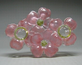 Lancaster Glass Company dogwood candle holder block pink and chartreuse