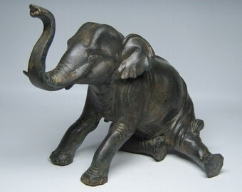 antique sitting / seated  BRONZE ELEPHANT
