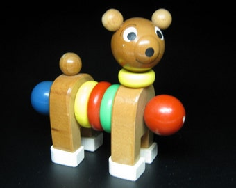 vintage WOODEN BEAR TOY primary colors mid century modern